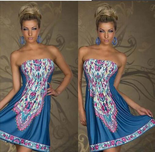 Strapless Paisley Print Dress - Assorted Styles and Sizes Women's Apparel XL Blue Bohemian - DailySale