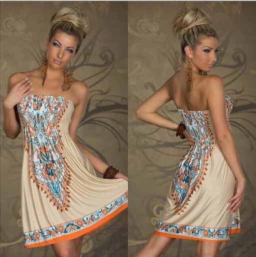 Strapless Paisley Print Dress - Assorted Styles and Sizes Women's Apparel XXL Beige Bohemian - DailySale