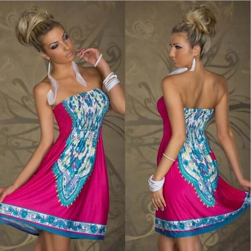 Strapless Paisley Print Dress - Assorted Styles and Sizes Women's Apparel XXL Pink Bohemian - DailySale