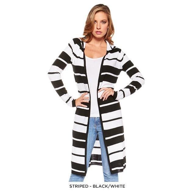 Stylish Long Hooded Cardigan - Assorted Colors Women's Apparel S Black/White - DailySale