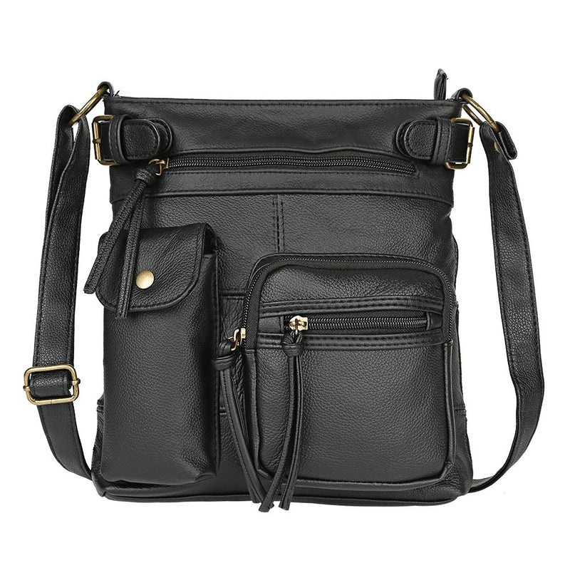 Super Soft Genuine Leather Top Belt Accent Crossbody Bag - Assorted Color Handbags & Wallets Black - DailySale