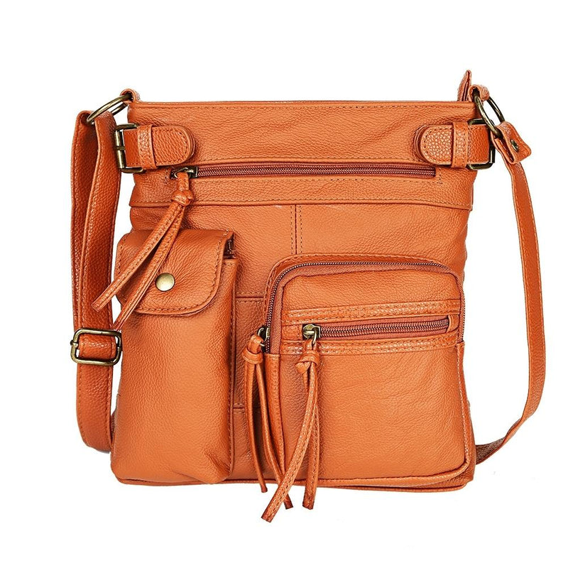 Super Soft Genuine Leather Top Belt Accent Crossbody Bag - Assorted Color Handbags & Wallets Brown - DailySale