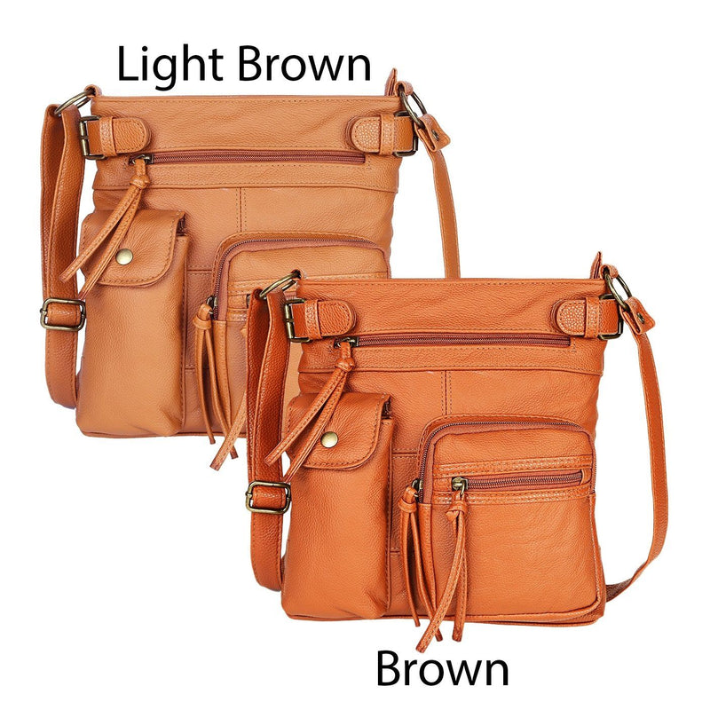 Super Soft Genuine Leather Top Belt Accent Crossbody Bag - Assorted Color Handbags & Wallets - DailySale