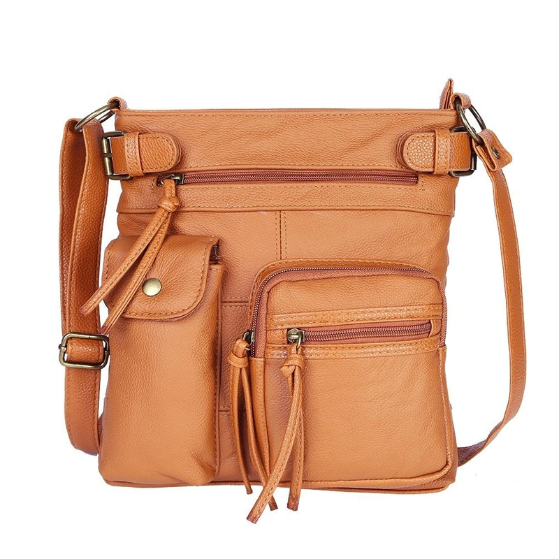 Super Soft Genuine Leather Top Belt Accent Crossbody Bag - Assorted Color Handbags & Wallets Light Brown - DailySale