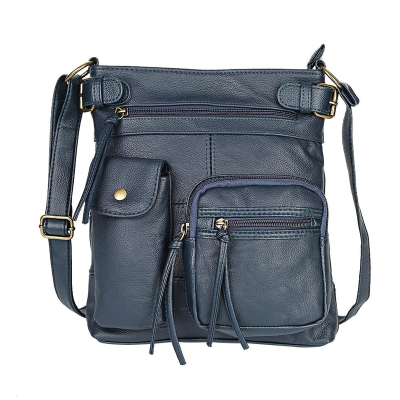 Super Soft Genuine Leather Top Belt Accent Crossbody Bag - Assorted Color Handbags & Wallets Navy - DailySale