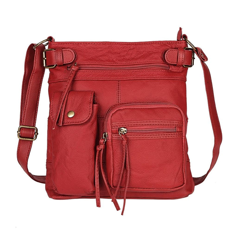 Super Soft Genuine Leather Top Belt Accent Crossbody Bag - Assorted Color Handbags & Wallets Red - DailySale