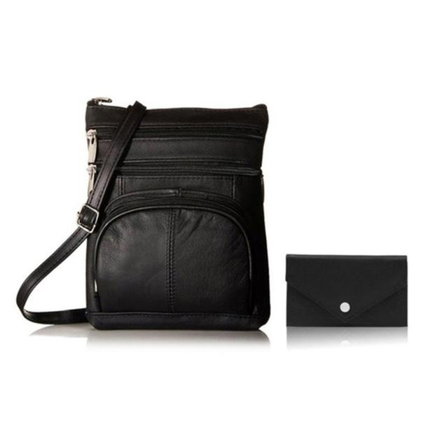 Super Soft Leather Crossbody Bag with Mini Commuter Card Case Bags & Travel Black - DailySale