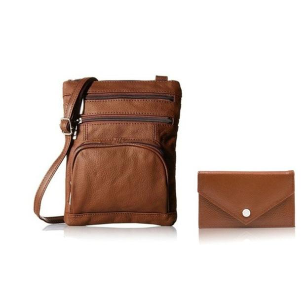Super Soft Leather Crossbody Bag with Mini Commuter Card Case Bags & Travel Brown - DailySale