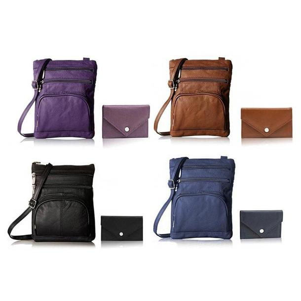 Super Soft Leather Crossbody Bag with Mini Commuter Card Case Bags & Travel - DailySale