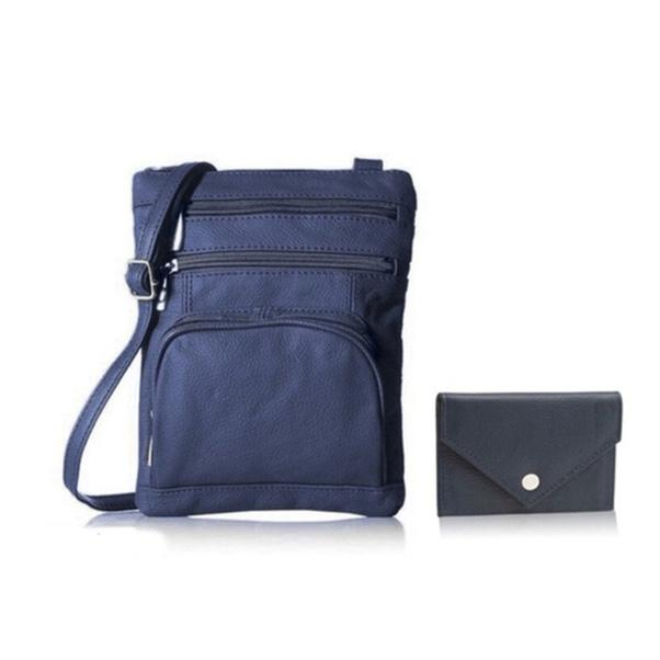 Super Soft Leather Crossbody Bag with Mini Commuter Card Case Bags & Travel Navy - DailySale