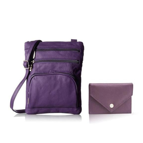 Super Soft Leather Crossbody Bag with Mini Commuter Card Case Bags & Travel Purple - DailySale