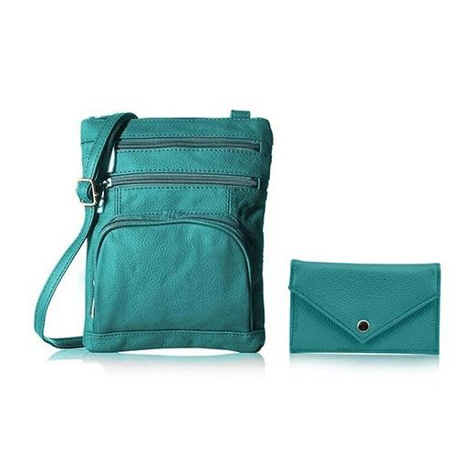 Super Soft Leather Crossbody Bag with Mini Commuter Card Case Bags & Travel Teal - DailySale