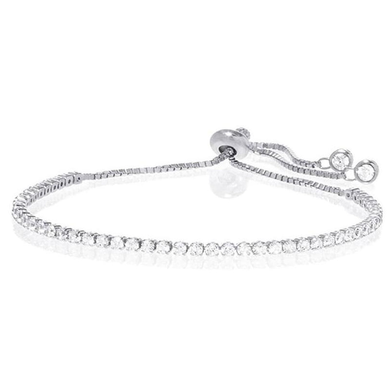 Swarovski Crystal Adjustable Tennis Bracelet in 14K White Gold Jewelry - DailySale