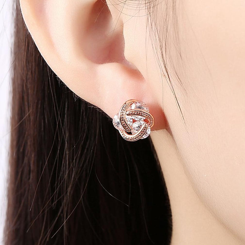 Swarovski Crystal Knot Stud Earrings Set Jewelry - DailySale