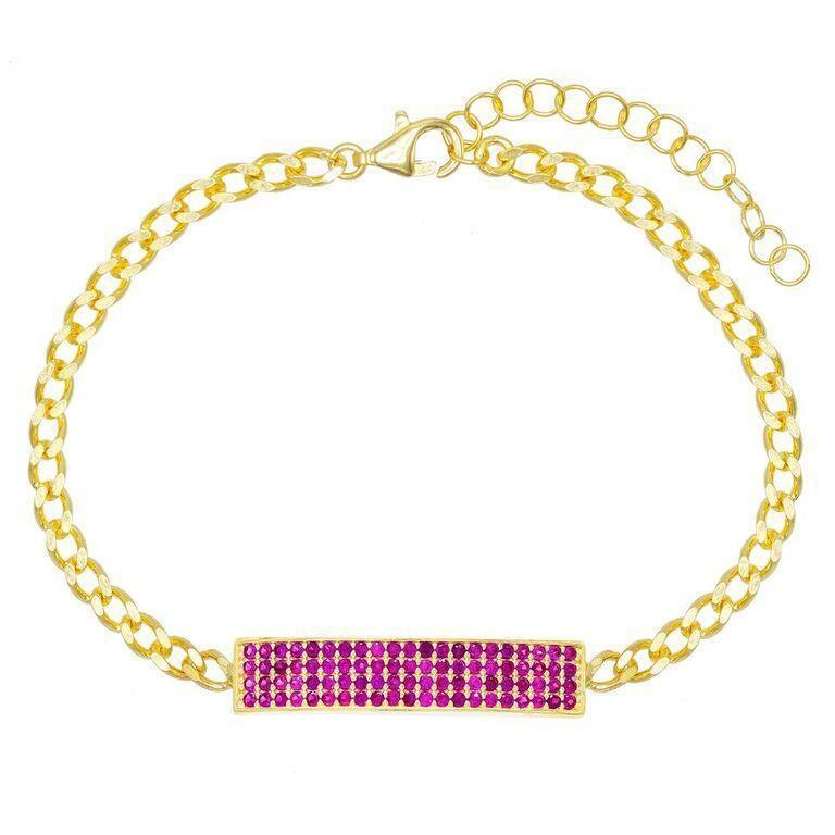 Swarovski Elements Pav'e Bar Curb Chain ID Bracelet in 14K Gold Jewelry Pink - DailySale