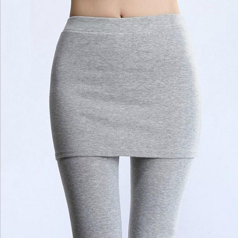 Thick Lined Leggings with Attached Skirt - Light Gray Women's Apparel - DailySale