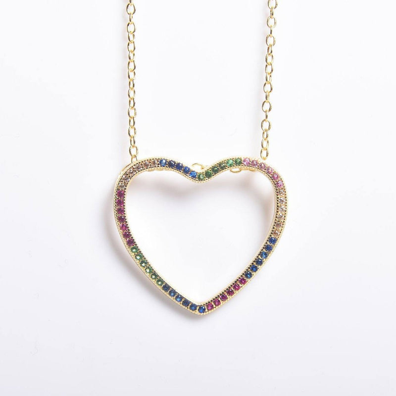 Thin Open Heart Rainbow Necklace Necklaces Gold - DailySale