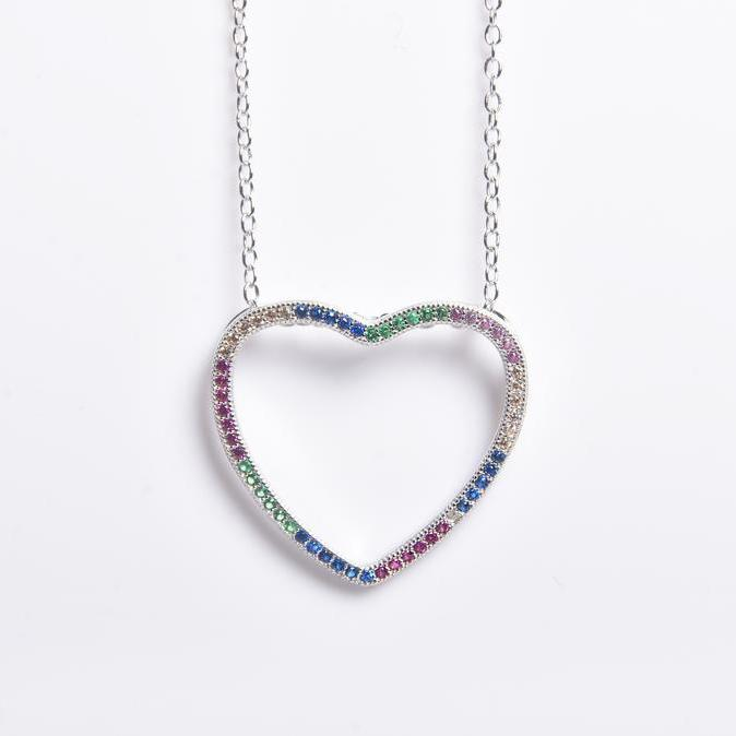 Thin Open Heart Rainbow Necklace Necklaces Silver - DailySale