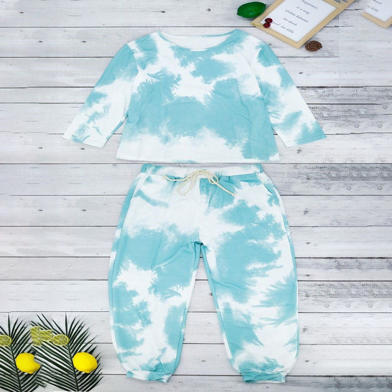 Tie Dye Sweatsuit Women's Clothing Green S - DailySale