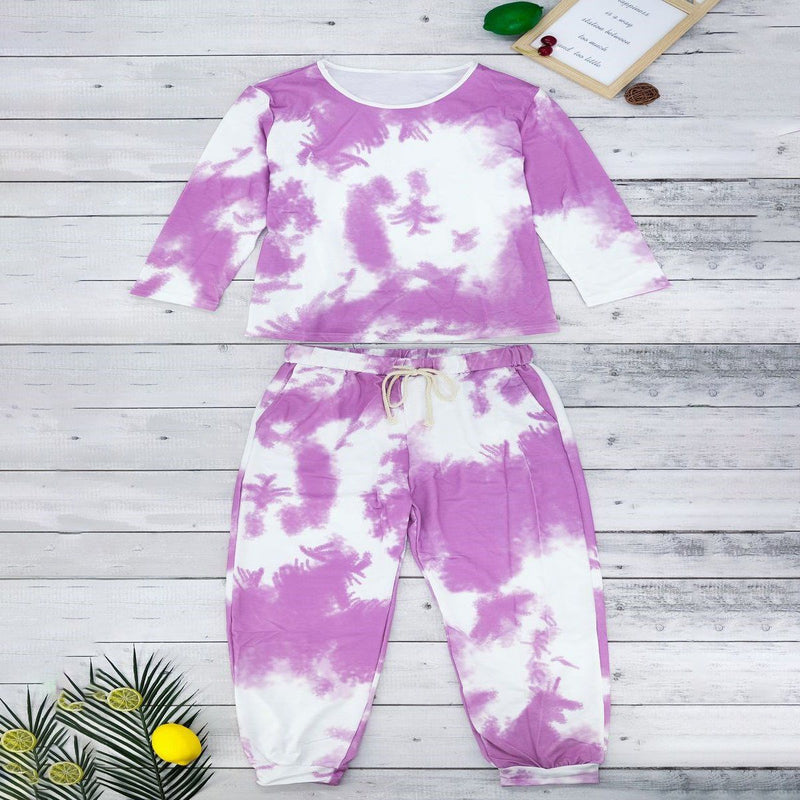 Tie Dye Sweatsuit Women's Clothing Purple S - DailySale