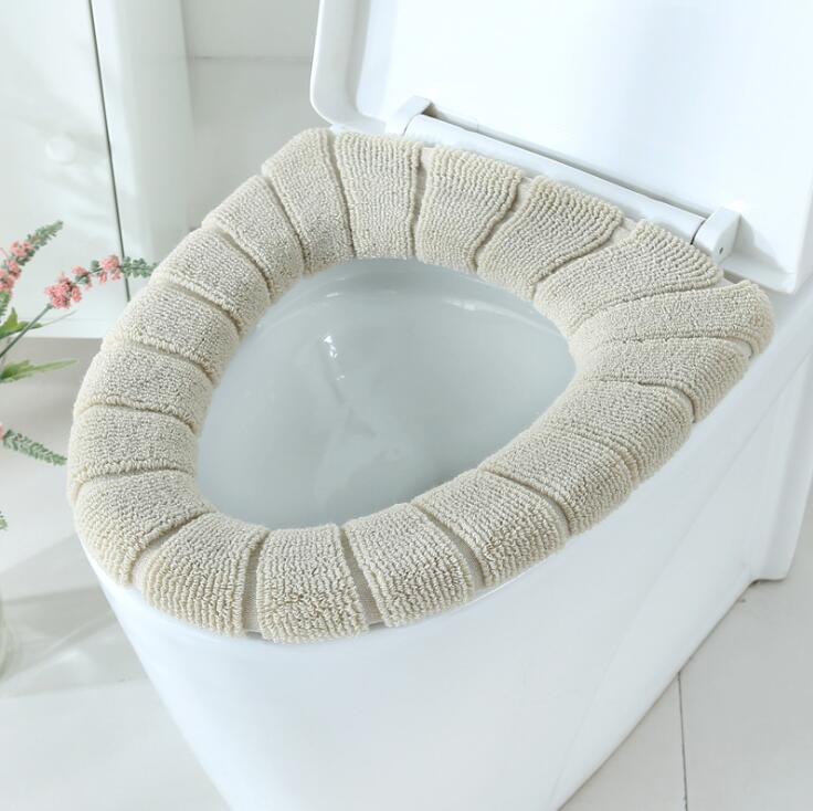 Toilet Seat Soft Thick Washable Cover Pad Protector Bath Beige - DailySale