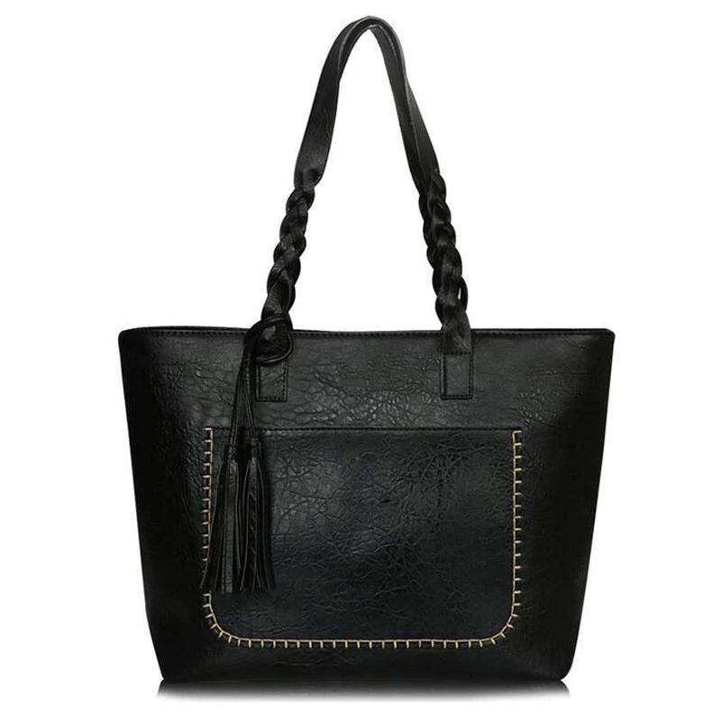 Tote Vintage Faux Women Leather Handbag Handbags & Wallets Black - DailySale
