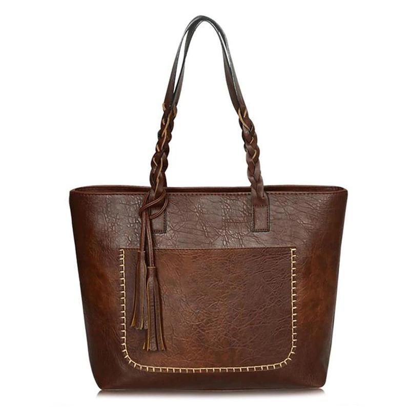 Tote Vintage Faux Women Leather Handbag Handbags & Wallets Brown - DailySale