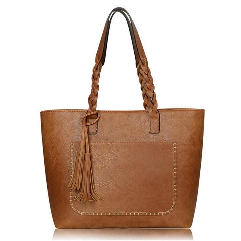 Tote Vintage Faux Women Leather Handbag Handbags & Wallets Tan - DailySale