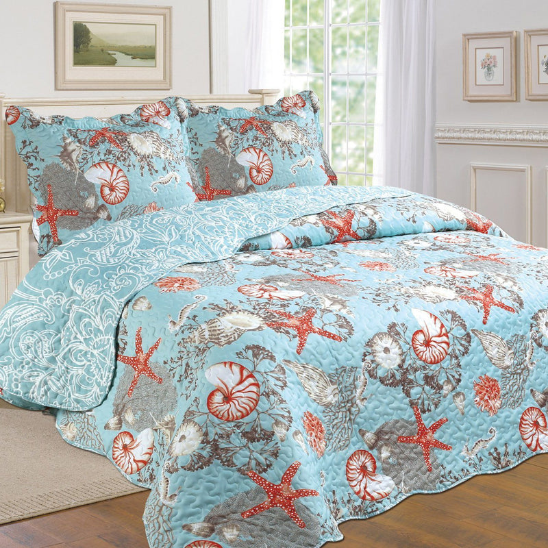Tradition Premium Printed Reversible Quilt Sets - Assorted Styles Bedding Coastal Twin - DailySale