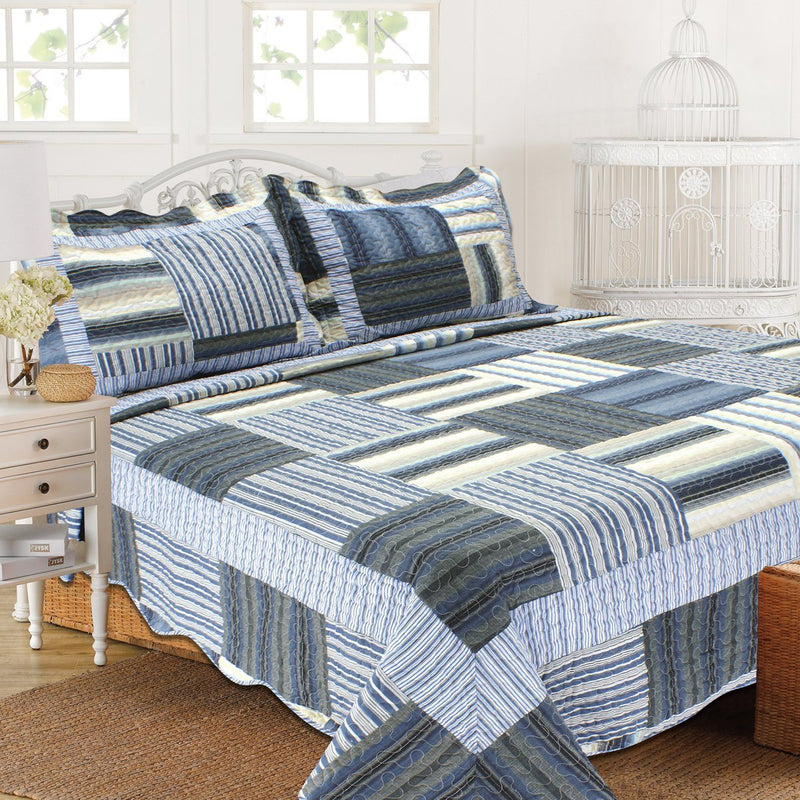 Tradition Premium Printed Reversible Quilt Sets Linen & Bedding Blue Twin - DailySale