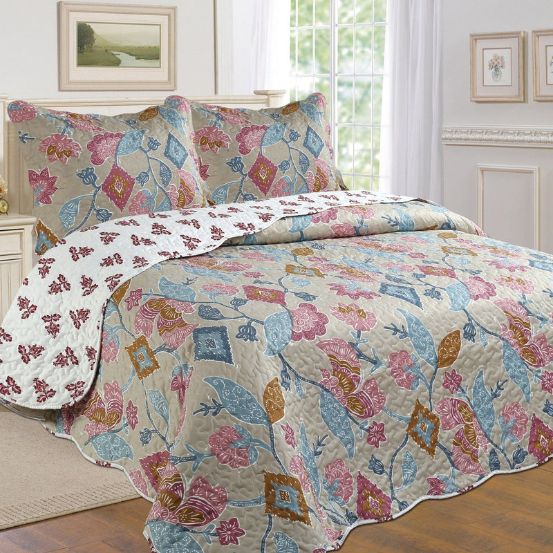 Tradition Premium Printed Reversible Quilt Sets Linen & Bedding Floral Twin - DailySale