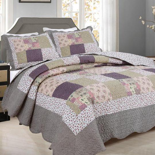 Tradition Premium Printed Reversible Quilt Sets Linen & Bedding Gray Patchwork Twin - DailySale