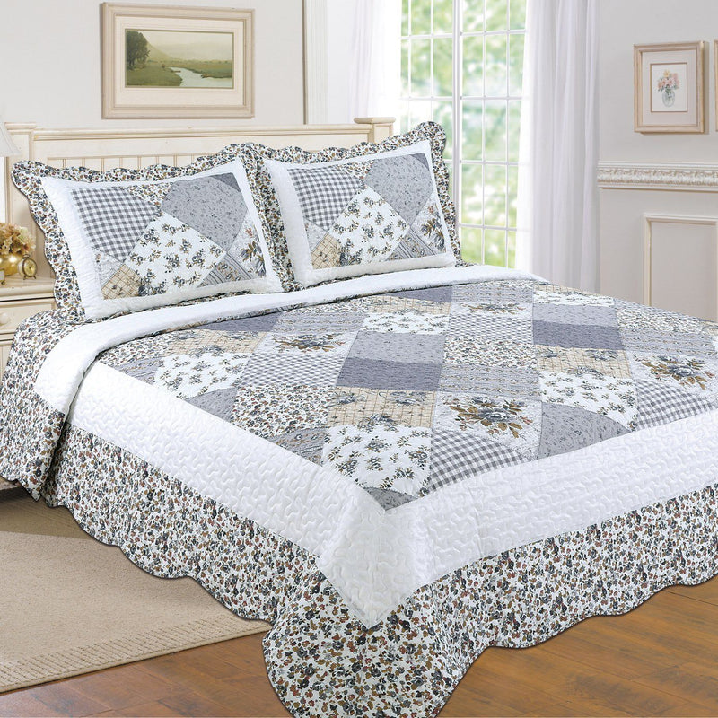 Tradition Premium Printed Reversible Quilt Sets Linen & Bedding Gray Twin - DailySale