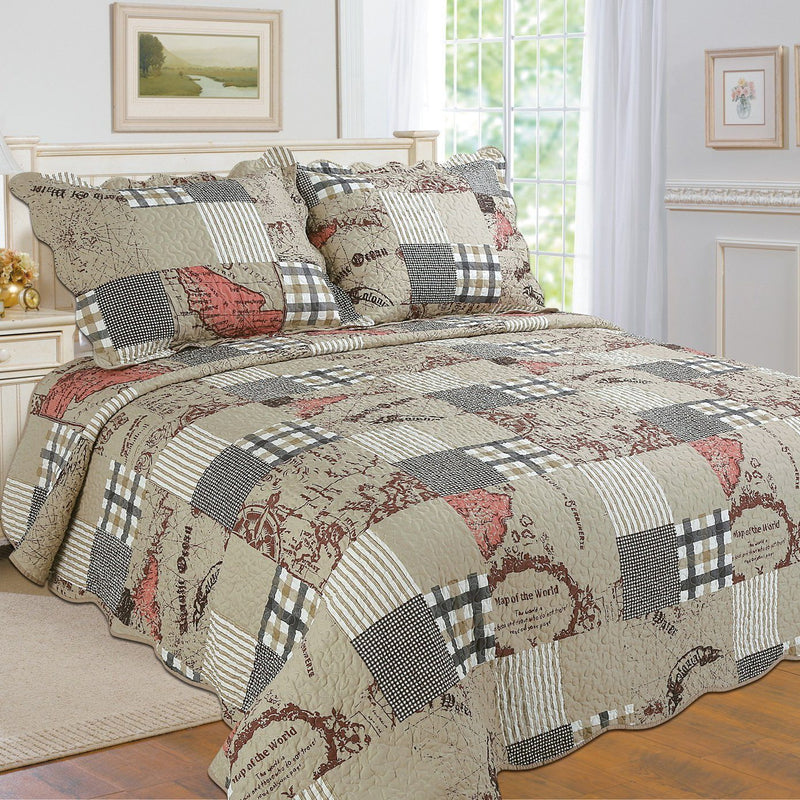 Tradition Premium Printed Reversible Quilt Sets Linen & Bedding Taupe Twin - DailySale
