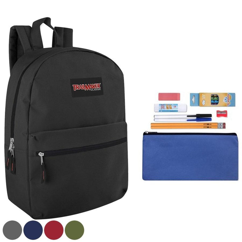 Trailmaker Classic 17 Inch Backpack + 12 Piece School Supply Kit - Assorted Colors Toys & Games Black - DailySale