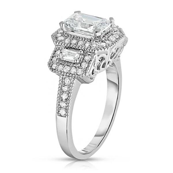Tri Stone Emerald Cut Cubic Zirconia Ring in 18k White Gold - Size: 9 Jewelry - DailySale