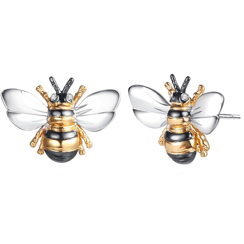 Tri-Tone Bumble Bee Stud Earrings Made with Swarovski Elements Jewelry - DailySale