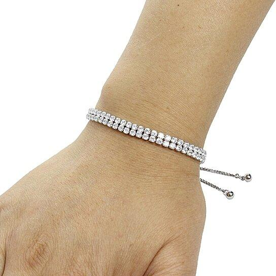 Two Row Adjustable Tennis Bracelet Bracelets - DailySale