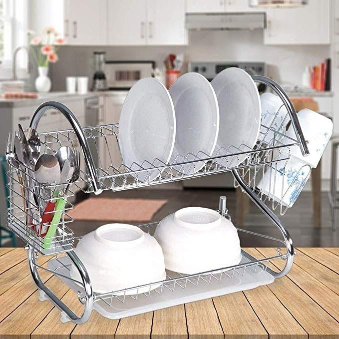 "Two-Tier Stainless-Steel Dish Rack - 16"" Rack Kitchen Essentials - DailySale"
