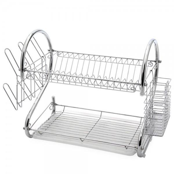 Two-Tier Stainless-Steel Dish Rack - Assorted Sizes Kitchen Essentials - DailySale