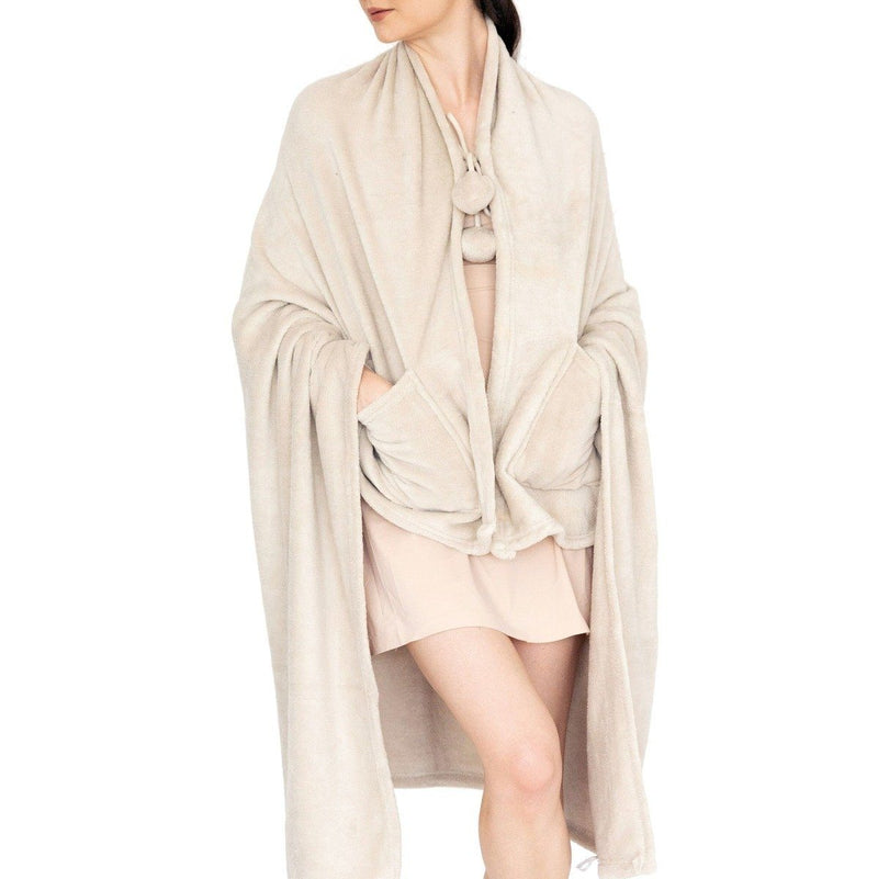 Ultra-Plush Faux Fur Fleece Wearable Blanket Women's Apparel Beige - DailySale