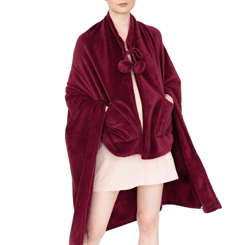 Ultra-Plush Faux Fur Fleece Wearable Blanket Women's Apparel Burgundy - DailySale