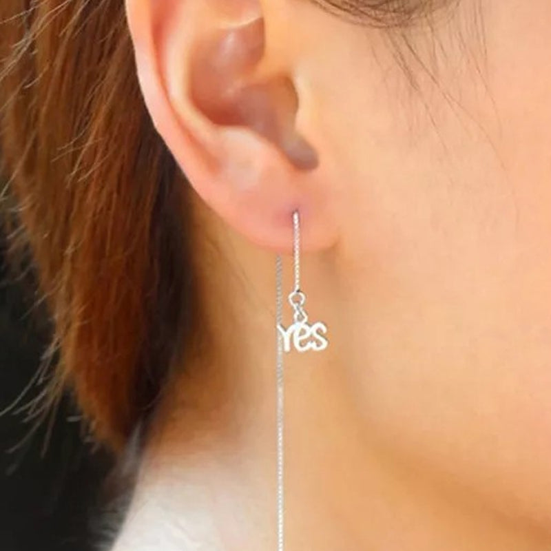 Sterling Silver Yes And No Long Threader Earrings - DailySale, Inc
