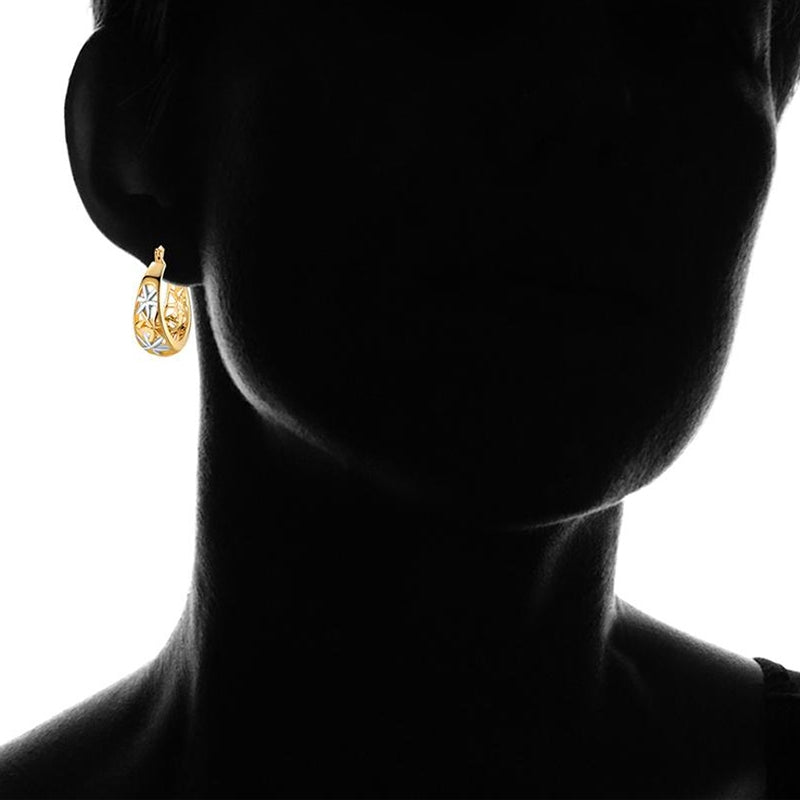 18K Gold Plating Moroccan Filigree Hoop Earrings - DailySale, Inc