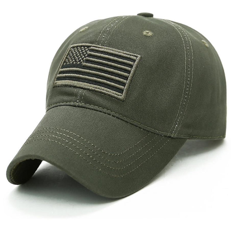 USA Flag Baseball Cap Army Embroidery Cotton Tactical Snapback Hat Men's Accessories Army Green - DailySale