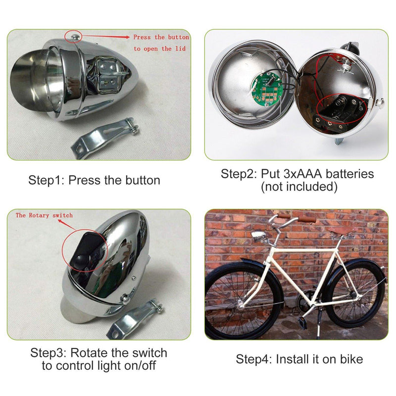 Vintage Bicycle Front Headlight Sports & Outdoors - DailySale