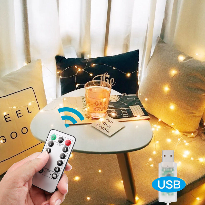 Warm White USB Remote Control 300LED String Lights Lighting & Decor - DailySale