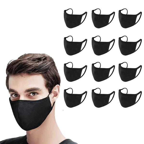 Washable & Resuable 2 Ply Cotton Fabric Face Mask With Elastic Earloop Wellness & Fitness 12-Pack Black - DailySale