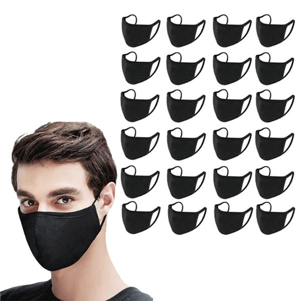 Washable & Resuable 2 Ply Cotton Fabric Face Mask With Elastic Earloop Wellness & Fitness 24-Pack Black - DailySale