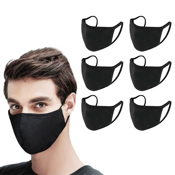 Washable & Resuable 2 Ply Cotton Fabric Face Mask With Elastic Earloop Wellness & Fitness 6-Pack Black - DailySale